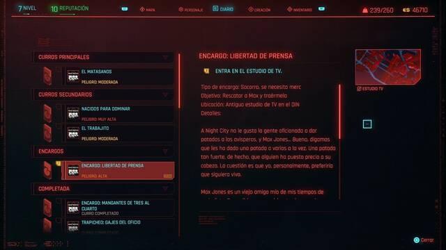 Libertad de prensa en Cyberpunk 2077 al 100%