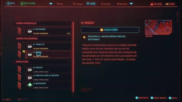 El regalo en Cyberpunk 2077 al 100%