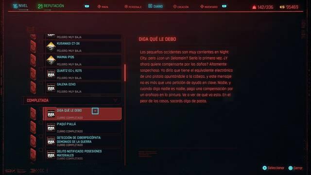 Diga qué le debo en Cyberpunk 2077 al 100%