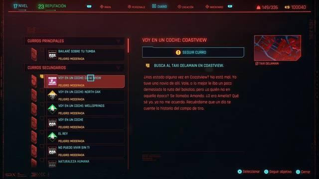 Voy en un coche: Coastview en Cyberpunk 2077 al 100%