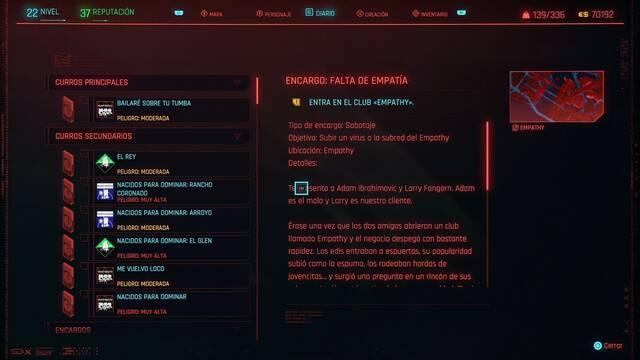 Falta de empatía en Cyberpunk 2077 al 100%
