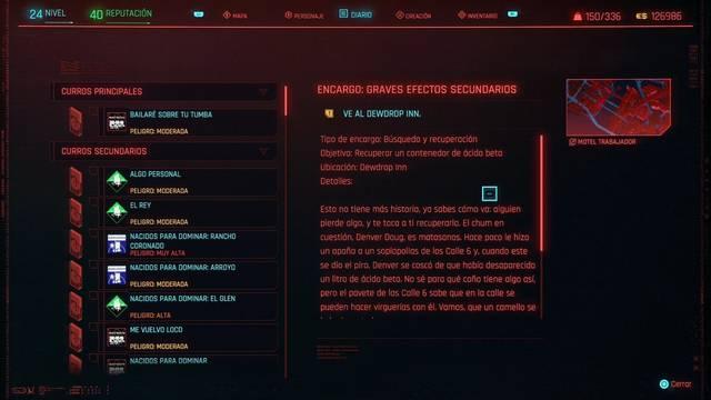 Graves efectos secundarios en Cyberpunk 2077 al 100%