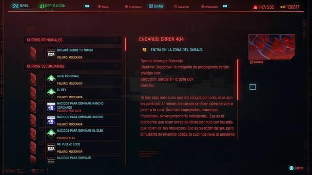 Error 404 en Cyberpunk 2077 al 100%