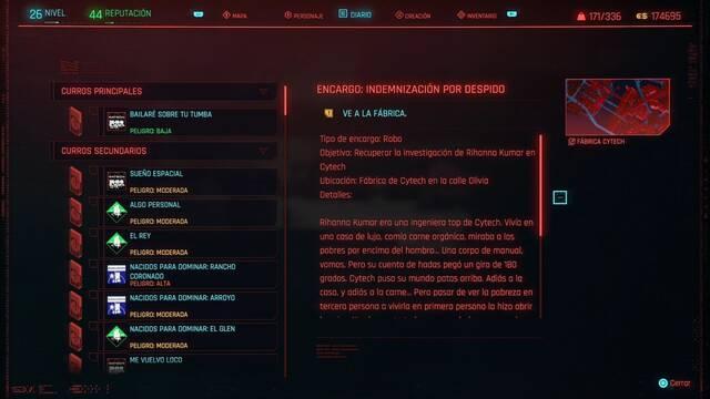 Indemnización por despido en Cyberpunk 2077 al 100%