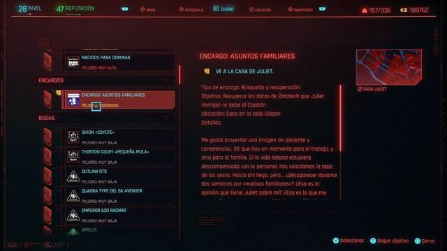 Asuntos familiares en Cyberpunk 2077