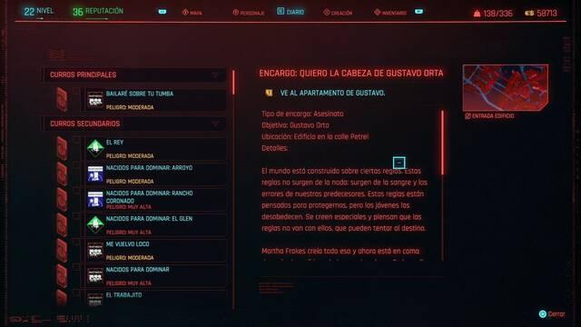 Quiero la cabeza de Gustavo Orta en Cyberpunk 2077 al 100%