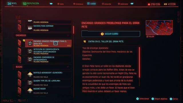 Grandes problemas para el gran Pete en Cyberpunk 2077 al 100%