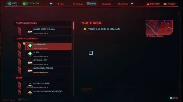 Algo personal en Cyberpunk 2077 al 100%