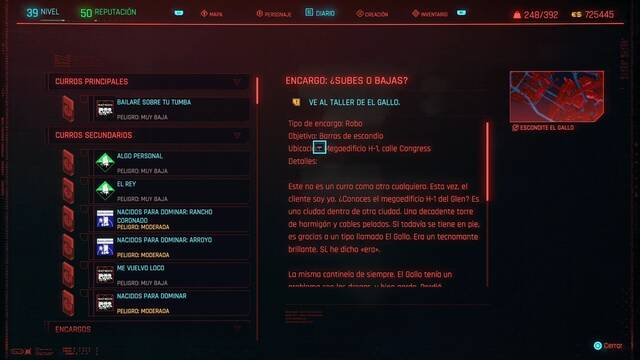¿Subes o bajas? en Cyberpunk 2077 al 100%