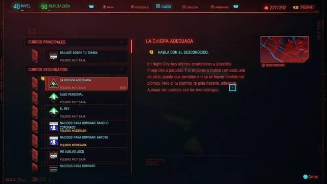 La chispa adecuada en Cyberpunk 2077 al 100%