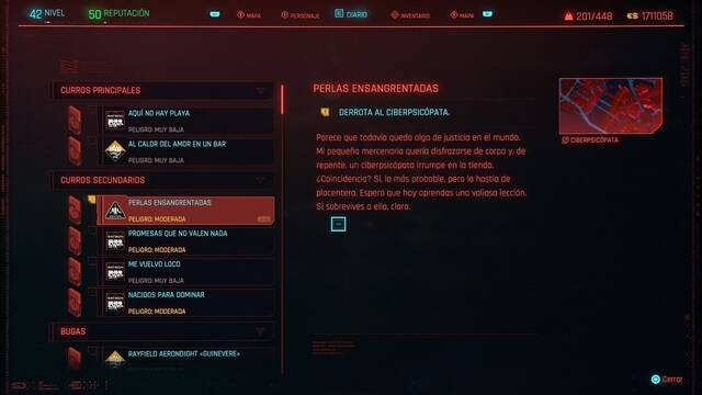 Perlas ensangrentadas en Cyberpunk 2077 al 100%