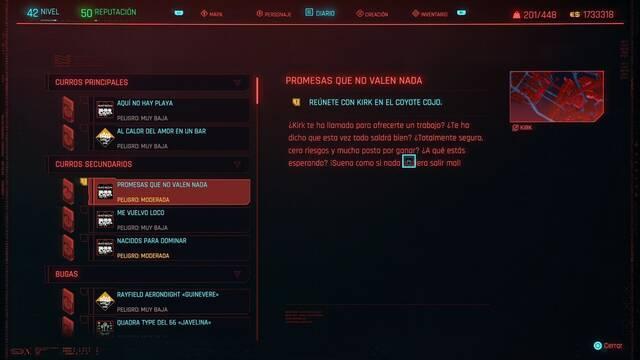 Promesas que no valen nada en Cyberpunk 2077 al 100%
