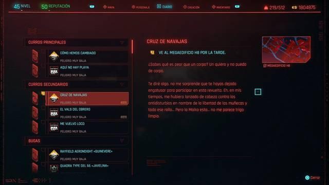 Cruz de navajas en Cyberpunk 2077 al 100%