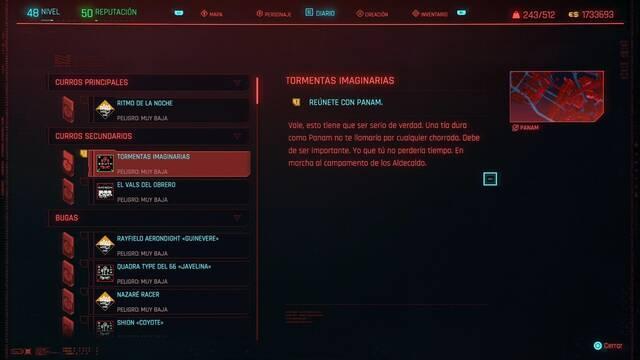 Tormentas imaginarias en Cyberpunk 2077 al 100%