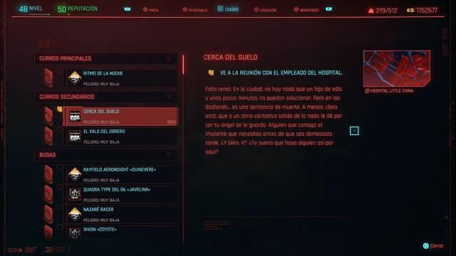 Cerca del suelo en Cyberpunk 2077 al 100%