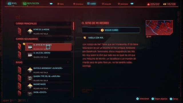 El sitio de mi recreo en Cyberpunk 2077 al 100%