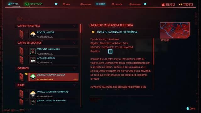 Mercancía delicada en Cyberpunk 2077 al 100%