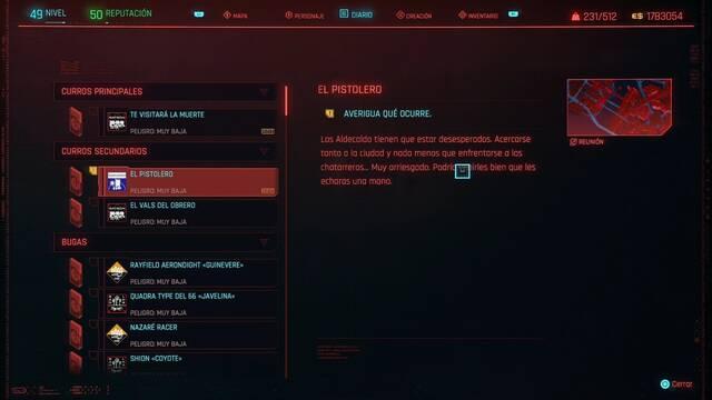 El pistolero en Cyberpunk 2077 al 100%