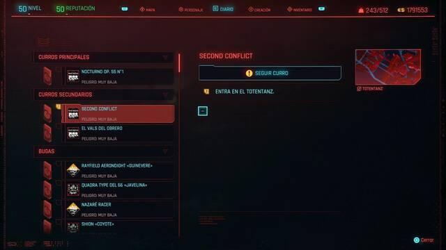 Second conflict en Cyberpunk 2077 al 100%