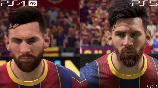 FIFA 21 comparado en PS5 y PS4 Pro.
