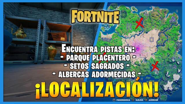Fortnite: Encuentra pistas en Parque Placentero, Setos Sagrados y Albercas Adormecidas