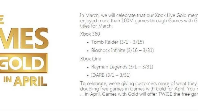 Se filtran los juegos de marzo de Games With Gold, con Tomb Raider y Rayman Legends entre ellos