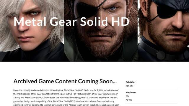 Desmentido: Metal Gear Solid HD Collection no está en desarrollo para PS4