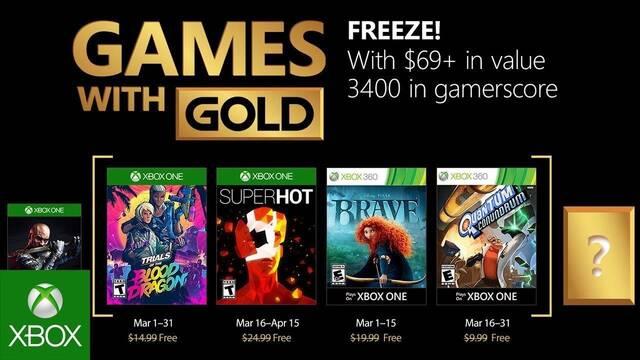Anunciados los Juegos con Gold de Xbox Live de marzo