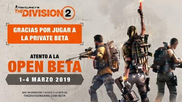 The Division 2 anuncia su beta abierta para el próximo marzo