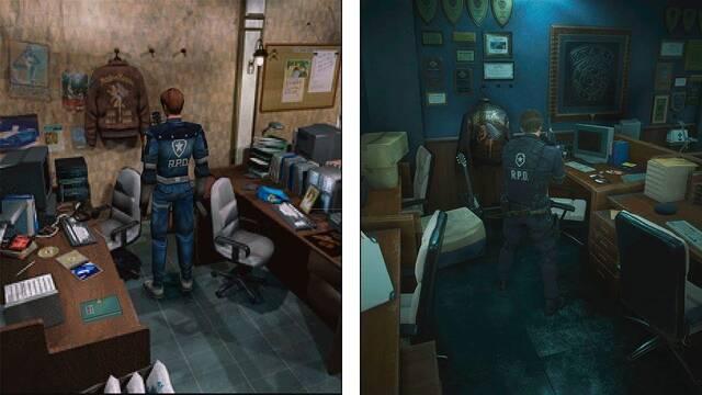 Comparan la cámara clásica entre las dos versiones de Resident Evil 2
