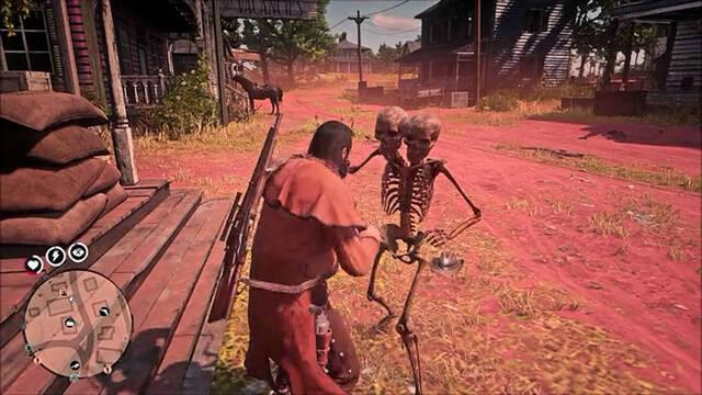 Red Dead Online esqueletos dos cabezas
