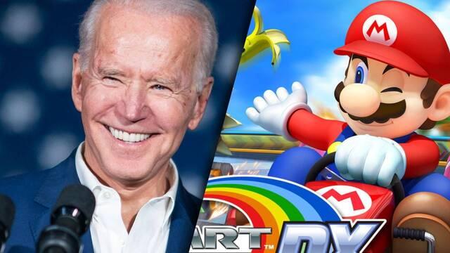 Joe Biden pillado jugando a Mario Kart GP DX con su nieta.