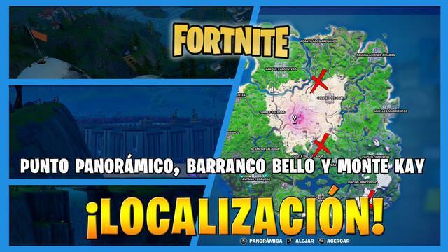 Fortnite - Dónde encontrar Punto Pintoresco, Barranco Bello y Monte Kay