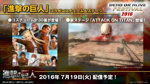 Attack on Titan tendrá una colaboración en Dead or Alive 5: Last Round
