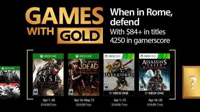 Anunciados los Juegos con Gold de abril