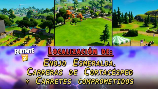 Desafío Fortnite: Enojo Esmeralda, Carrera de Cortacésped y Carretes Comprometidos - LOCALIZACIÓN