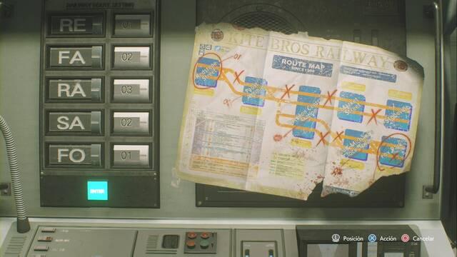 Resident Evil 3 Remake: Puzzle de la ruta del metro - Solución