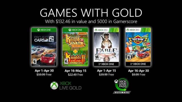 Anunciados los juegos de abril de Games With Gold.