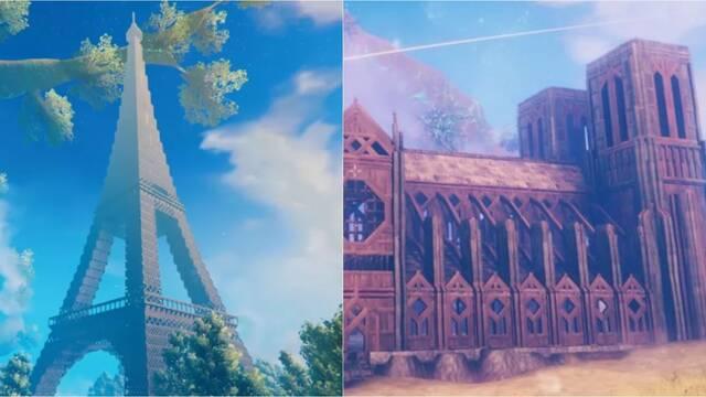 Valheim con la Torre Eiffel y Notre Dame