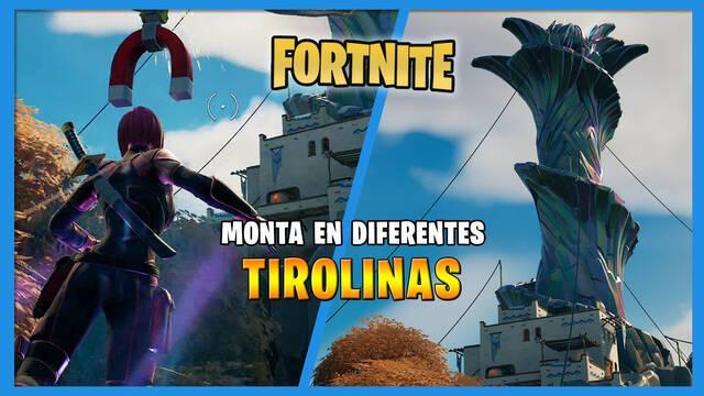 Fortnite: monta en diferentes tirolinas