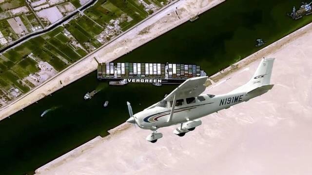 El barco del Canal de Suez se cuela en Microsoft Flight Simulator
