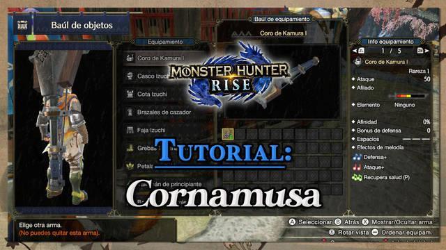 Cornamusa en Monster Hunter Rise: Tutorial, combos y efectos de melodía
