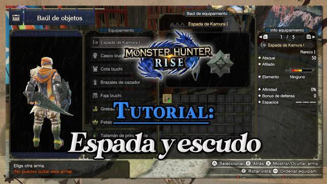 Espada y escudo en Monster Hunter Rise: Tutorial y combos