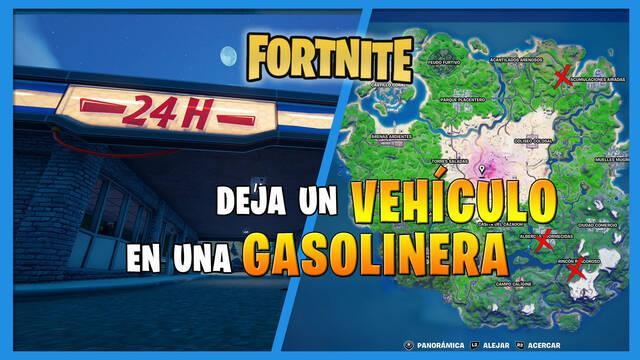Fortnite: deja un vehículo en una gasolinera