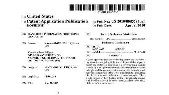 Nintendo patenta una portátil con vibración interna