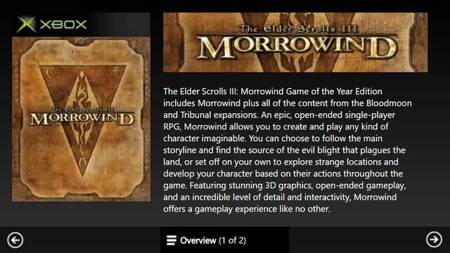 Morrowind, entre otros juegos, llegará a la retrocompatibilidad de Xbox One
