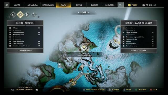 Camara oculta de Odín en Alfheim - God of War (PS4)