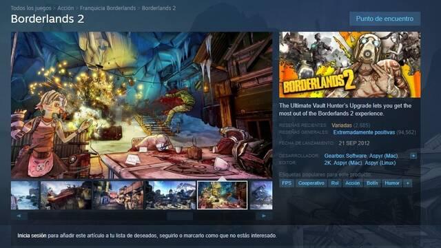 Avalancha de críticas a la saga Borderlands en Steam por la exclusividad con Epic