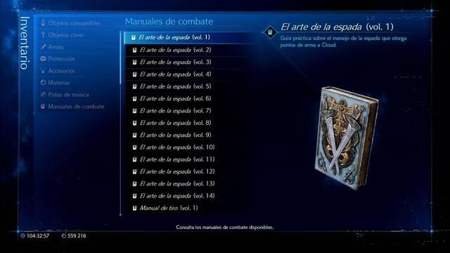 Cómo conseguir todos los manuales de combate en Final Fantasy VII Remake