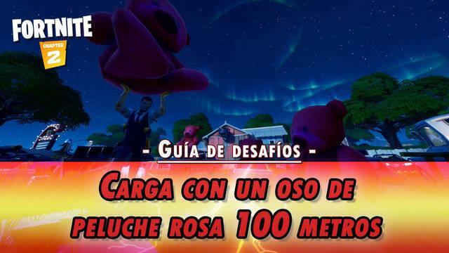 Desafío Fortnite: carga con un oso de peluche rosa 100 metros - SOLUCIÓN